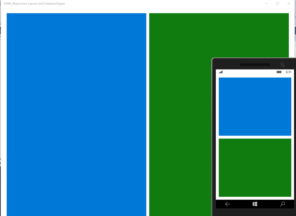 UWP XAML: Simple Responsive Layout using Grid and AdaptiveTrigger